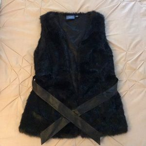 Vera Wang fur vest with tie